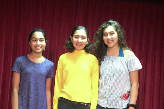 San Antonio teens Jaya Kosaraju (from left) and sisters Renee and Rosa Acevedo will perform in the Macy's Thanksgiving Day Parade with youngsters from across the country.