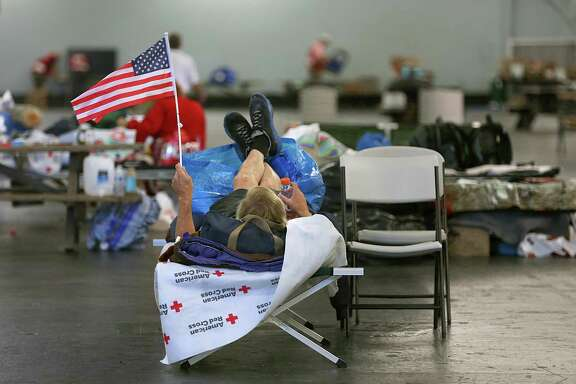 Larry Campbell, homeless and disabled, lost his van that was his home and all of his personal belongings in Fountaingrove during the fire. He awaits instructions to move at the Sonoma County Red Cross shelter in Santa Rosa.
