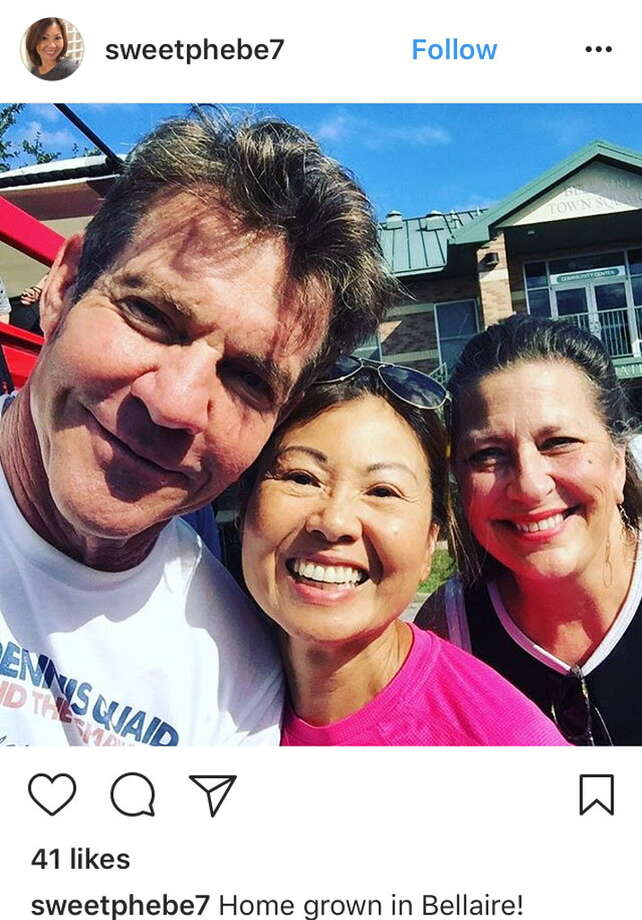 Phebe (@sweetphebe7) snapped a selfiewith Dennis Quaid while the actor was back in his hometown for a Harvey benefit event. Photo: Handout