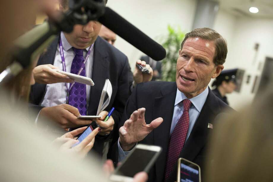 U.S. Sen. Richard Blumenthal (D-Conn.) in October 2017 in Washington, D.C. On Wednesday, Nov. 15, Blumenthal announced alongside U.S. Sen. Patrick Leahy (D-Vt.) and four other senators a proposed Consumer Privacy Protection Act that among other aims would penalize companies if they do not notify consumers promptly of breaches in their payment card systems and other databases storing sensitive information. (Tom Brenner/ The New York Times) Photo: TOM BRENNER / NYT / NYTNS