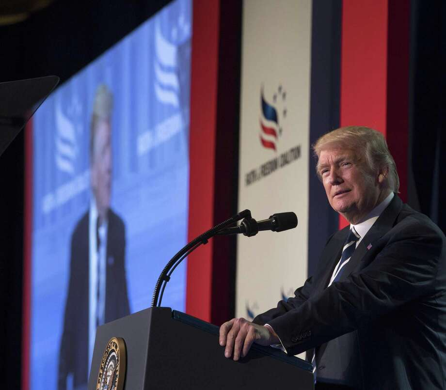 President Donald Trump speaks at the Faith and Freedom Coalitions Road to Majority conference in Washington last summer. A sense of victimhood has allowed evangelical Christians to abandon principles to support Trump. Photo: Stephen Crowley / New York Times / The Citizen