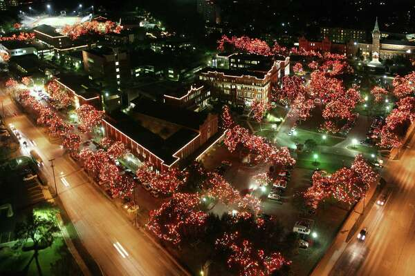 The annual Light the Way event (shown in 2011 in this aerial shot) invites the San Antonio community to enjoy the beauty of the campus, illuminated by more than a million twinkling lights every Christmas holiday season.