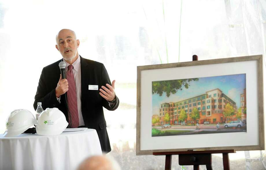 LCB Senior Living CEO Michael Stoller speaks during the dedication ceremony to mark the completion of the latest phase of construction at the LCB senior living complex on 2nd Street in downtown Stamford, Conn. on Wednesday, Nov. 15, 2017. Photo: Michael Cummo / Hearst Connecticut Media / Stamford Advocate