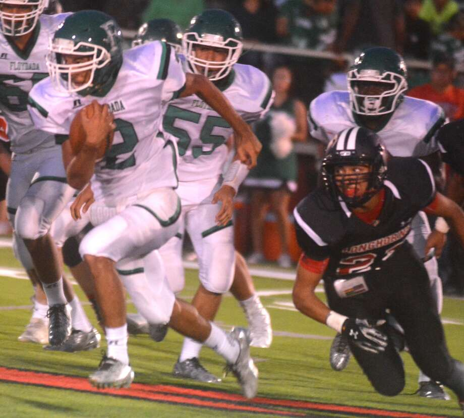 Floydada's Rosendo Reyna gains yardage in a game earlier this season. Reyna has rushed for more than 1,100 yards for the Whirlwinds, who will take on Stratford in a Class 2A bi-district playoff game Thursday night. Photo: Skip Leon/Plainview Herald