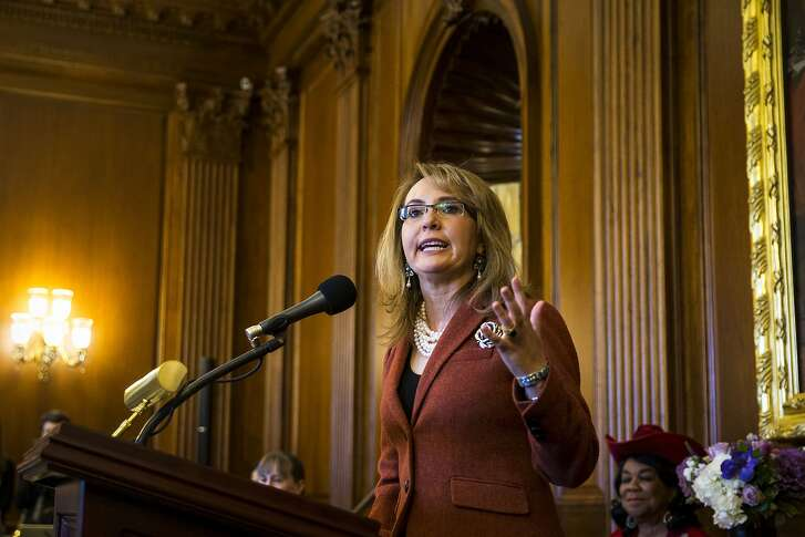 Former Rep. Gabrielle Giffords (D-Ariz.) speaks during a dedication ceremony of the House Democratic Cloakroom in her name, and the name of the late Rep. Leo Ryan (D-Calif.), at the U.S. Capitol in Washington, Nov. 15, 2017. (Al Drago/The New York Times)