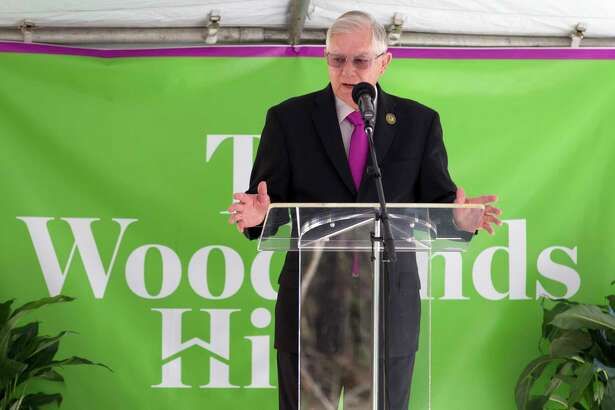 Conroe Mayor Toby Powell speaks during a ground breaking ceremony for The Woodlands Hills master-planned community, Wednesday, Nov. 15, 2017, in North Montgomery County. The new development with include 4,500 homes over 2,000 acres with more than 20 parks and other green spaces.