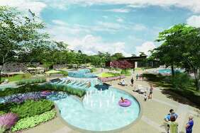 The Woodlands Hills' amenities will include parks, swimming and a lazy river, as seen in this rendering.