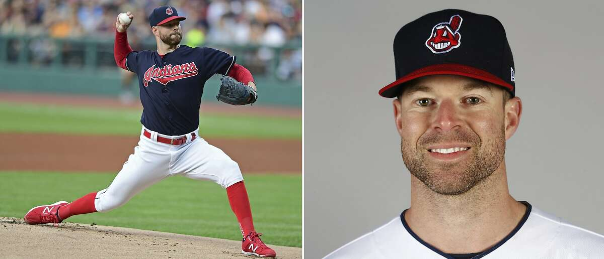 FILE - At left, in a July 9, 2017, file photo, Cleveland Indians pitcher Corey Kluber delivers in the first inning of a baseball game against the Detroit Tigers in Cleveland. At right is a 2017 file photo showing Cleveland Indians pitcher Corey Kluber. Max Scherzer and Clayton Kershaw duel for the NL Cy Young Award while Corey Kluber and Chris Sale top the candidates for the AL prize. The Cy Young Awards are announced Wednesday, Nov. 15, 2017. (AP Photo/File)