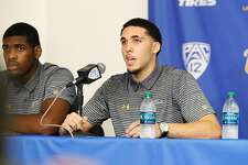 LOS ANGELES, CA - NOVEMBER 15:  LiAngelo Ball and Cody Riley (L) of the UCLA Men's Baskeball team speak to the media during a press conference at Pauley Pavilion on November 15, 2017 in Los Angeles, California. Ball, Riley and Jalen Hill have been suspended from the team after allegedly shoplifting while on a school trip to China. (Photo by Josh Lefkowitz/Getty Images)