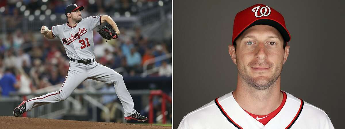 FILE - At left is a Sept. 19, 2017, file photo showing Washington Nationals pitcher Max Scherzer working against the Atlanta Braves in the first inning of a baseball game in Atlanta. At right is Scherzer in a 2017 file photo. Max Scherzer and Clayton Kershaw duel for the NL Cy Young Award while Corey Kluber and Chris Sale top the candidates for the AL prize. The Cy Young Awards are announced Wednesday, Nov. 15, 2017. (AP Photo/File)