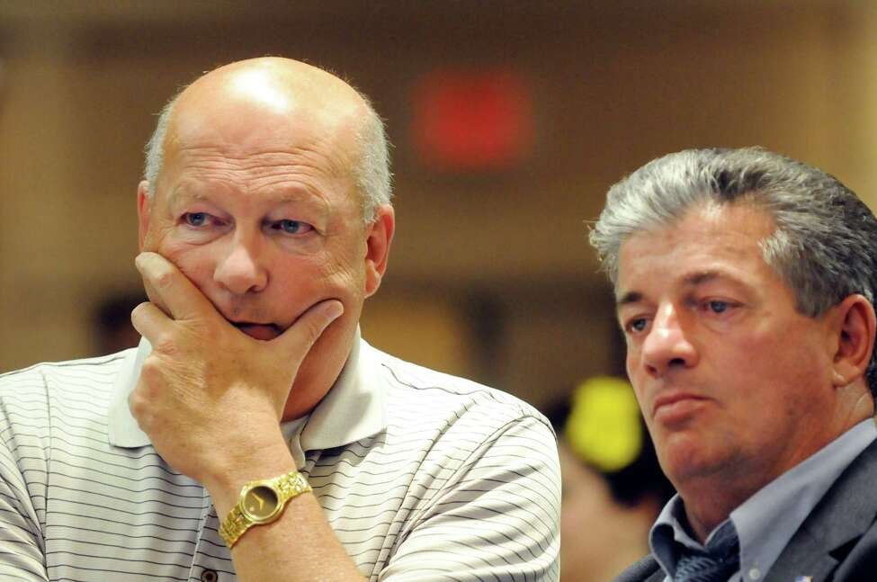 Waterford Supervisor Jack Lawler, left, and Rensselaer County Legislator Lou Desso, right, watch election results in the Republican primary for the 43rd Senate seat on Thursday, Sept. 13, 2012, at the Holiday Inn in Saratoga Springs, N.Y. (Cindy Schultz / Times Union)