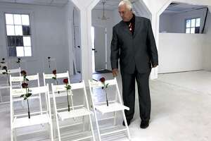 Pastor Mark Collins is seen inside the Sutherland Springs Baptist Church, where a gunman killed 26 parishioners Nov. 5. Collins is pastor of nearby First Baptist Church of Yorktown and a friend and colleague of SSBC pastor Frank Pomeroy. It was Collins' idea to convert the church into a memorial.