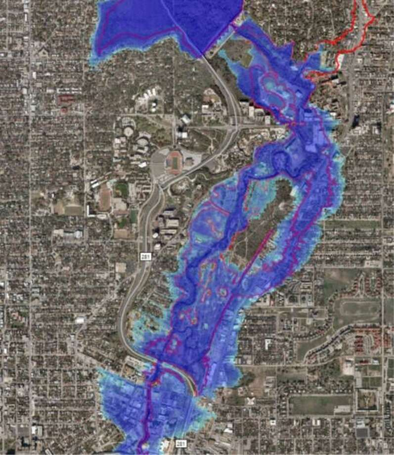 A flooding simulation of the Brackenridge Park and the Broadway corridor shows how some of San Antonio's creeks and rivers would rise if the city were hit by a Hurricane Harvey-level storm. Contractors for the San Antonio River Authority produced the images. Photo: San Antonio River Authority