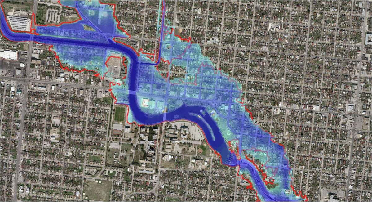 A flooding simulation of Apache Creek at Elmendorf Lake on the West Side shows what would happen if the city were hit by a Hurricane Harvey-level storm. Contractors for the San Antonio River Authority produced the images.