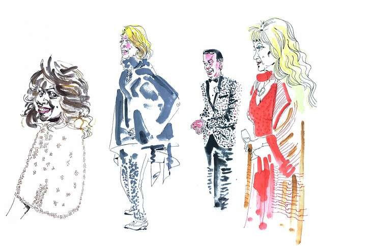 Left to right: Wilkes Bashford stylist Sheree Williams; society figure Sally Debenham, luxury realtor Joel Goodrich, and drag queen and civic figure Donna Sachet.