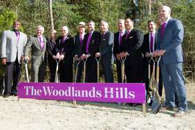Local political and community leaders are seen during a ground breaking ceremony for The Woodlands Hills master-planned community, Wednesday, Nov. 15, 2017, in North Montgomery County. The new development with include 4,500 homes over 2,000 acres with more than 20 parks and other green spaces.