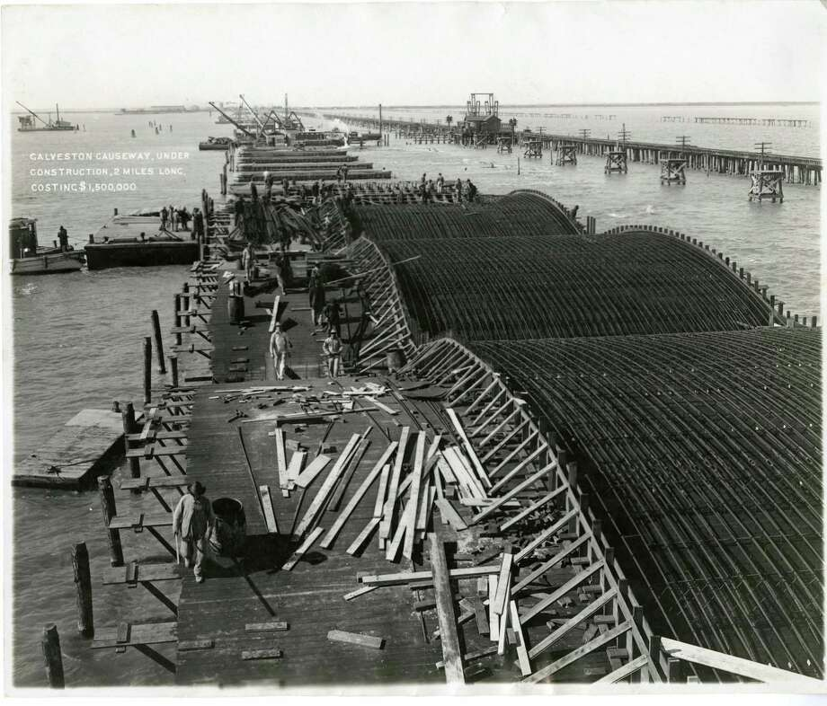 1909-1910 - Galveston Causeway, under Construction, 2 Miles Long, Costing $1,500,000.  CREDIT: GTHC Rosenberg Library, Galveston, TX Photo: GTHC Rosenberg Library / handout
