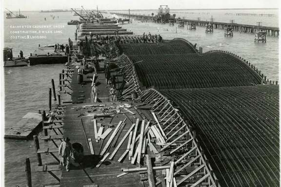 1909-1910 - Galveston Causeway, under Construction, 2 Miles Long, Costing $1,500,000.  CREDIT: GTHC Rosenberg Library, Galveston, TX