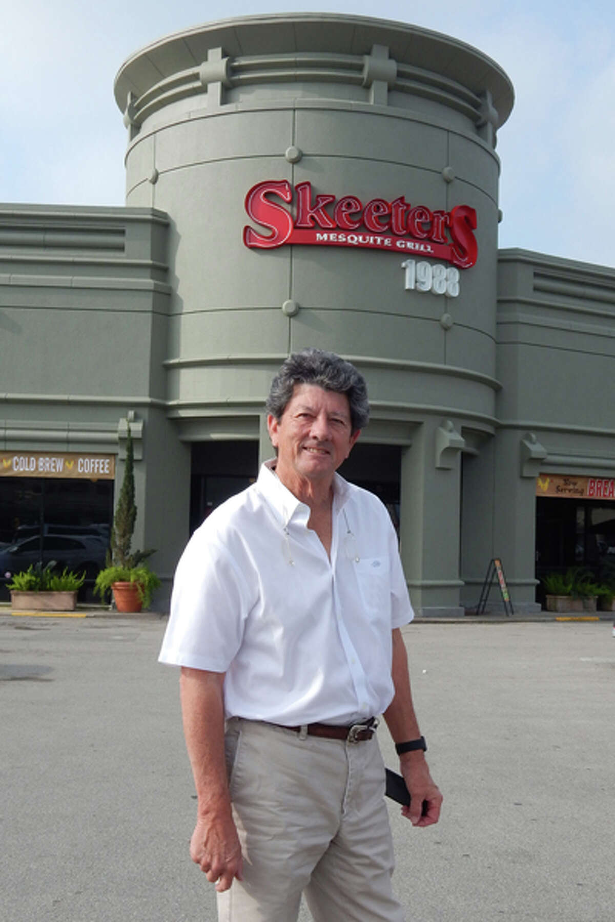 Owner Gary Adair in front of his original Skeeter's Mesquite Grill which was founded in 1988.