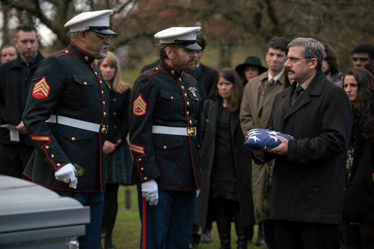 """This image released by Lionsgate shows Laurence Fishburne, from left, Bryan Cranston and Steve Carell in a scene from """"Last Flag Flying."""" (Wilson Webb/Lionsgate via AP)"""