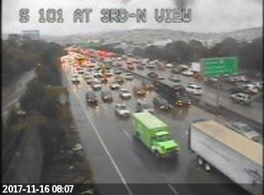 Traffic is backed up at Highway 101 and Bayview in San Francisco. Heavy rains throughout the Bay Area have caused tough conditions for the morning commute. Photo: Caltrans / 511.org