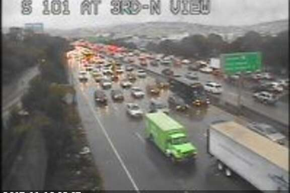 Traffic is backed up at Highway 101 and Bayview in San Francisco. Heavy rains throughout the Bay Area have caused tough conditions for the morning commute.