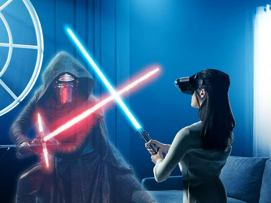 """Players fight villains like Kylo Ren in """"Lightsaber Battles,"""" one of three games. Photo: Lenovo"""