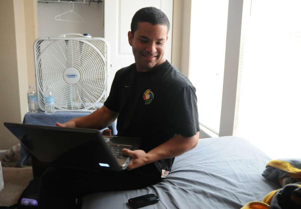 Lexington Legends second baseman Jose Altuve lounges around his place in Lexington in 2010.