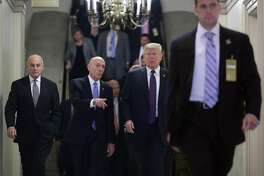(L-R) White House Chief of Staff John Kelly,  House Sergeant at Arms Paul Irving and U.S. President Donald Trump arrive for a meeting with the House Republican conference at the U.S. Capitol November 16, 2017 in Washington, DC. Trump is huddling with House GOP members on the day they hope to pass tax reform legislation, moving the president one step closer to a promised tax cut for corporations and some individual Americans before the end of the year.  (Photo by Chip Somodevilla/Getty Images)