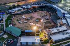"Rock Studios photographer Justin Snider was able to get aerial photos of Dell Diamond stadium, showing crews inside the highly secured area. The shots helped ignite rumors that the AMC prequel to ""The Walking Dead"" may be filming there."