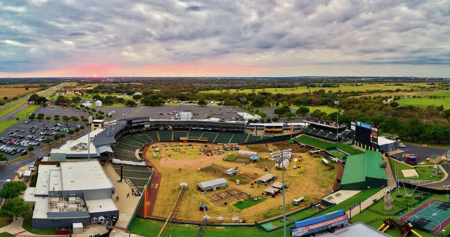 """Rock Studios photographer Justin Snider was able to get aerial photos of Dell Diamond stadium, showing crews inside the highly secured area. The shots helped ignite rumors that the AMC prequel to """"The Walking Dead"""" may be filming there. Photo: Courtesy, Justin Snider/Rock Studios"""