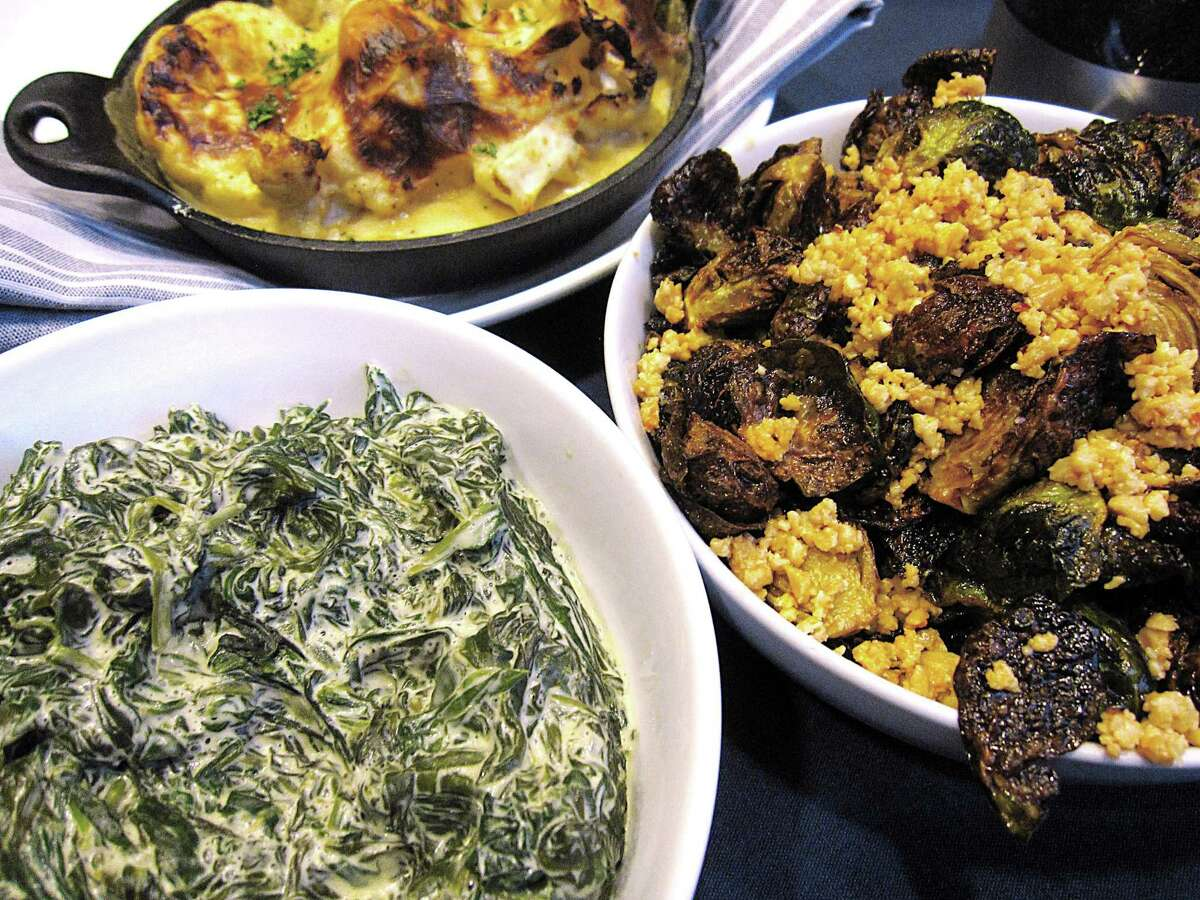 Creamed spinach, cauliflower gratin and glazed Brussels sprouts from Range