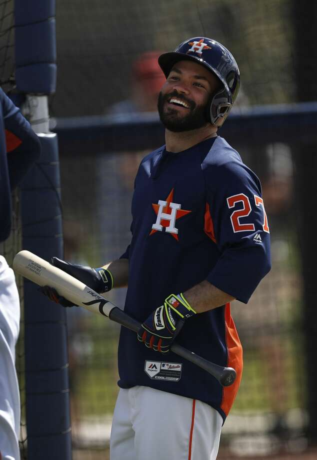 Houston Astros second baseman Jose Altuve (27) laughs during spring training at The Ballpark of the Palm Beaches, in West Palm Beach, Florida, Thursday, February 23, 2017. Photo: Karen Warren/Houston Chronicle
