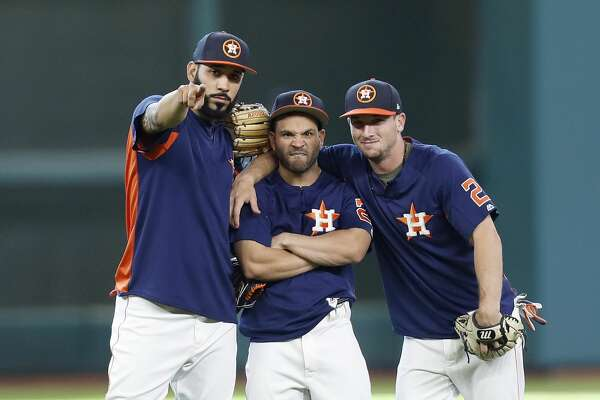 Houston Astros Marwin Gonzalez, Jose Altuve and Alex Bregman during batting practice before the start of an MLB game at Minute Maid Park, Friday, Aug. 4, 2017, in Houston.