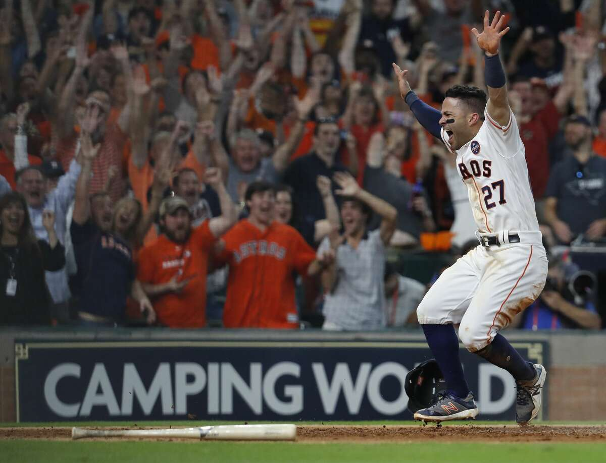 PHOTOS: Our photographers' favorite shots of Jose Altuve during the 2017 season Houston Astros Jose Altuve reacts after tagging home to score the winning run on Carlos Correa's walk off double in the ninth inning of Game 2 of the ALCS at Minute Maid Park on Saturday, Oct. 14, 2017, in Houston. Browse through the photos above for a look at our photographers' favorite shots of Jose Altuve during the 2017 season.