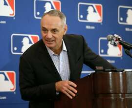 Major League Baseball commissioner Rob Manfred delivers remarks during a news conference at the annual MLB baseball owners meetings, Thursday, Nov. 16, 2017, in Orlando, Fla. (AP Photo/John Raoux)
