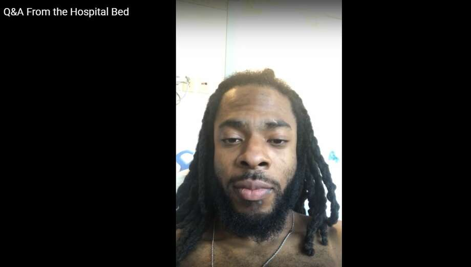 Seahawks defensive back Richard Sherman hosts a Q&A after undergoing surgery in Green Bay, Wisconsin to repair is ruptured Achilles. Photo: RICHARD SHERMAN/YOUTUBE