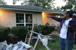 Jackie Dickenson lives on Rice Road near where McHard Road will be extended. She said she has been told by Pearland officials that her property, still in shambles from Hurricane Harvey, will be affected by an expansion project on McHard. Her home is safe, they said, orange tags near the back of her land mark land to be aquired for the project.