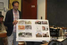 Lucien Vita presents before the Historic District Commission on Tuesday.