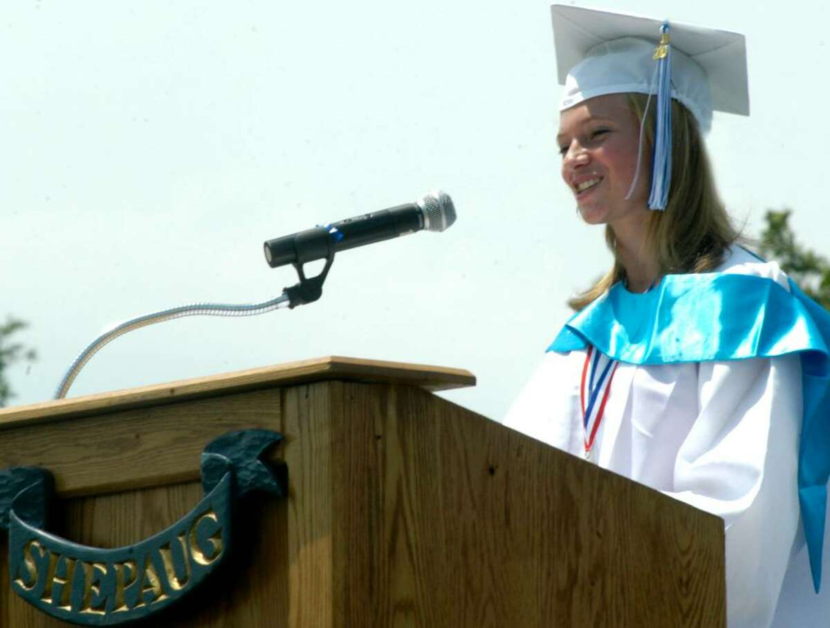 Christina Dumas reflects on the kaleidiscope of life experienced by the Class of 2010 during its four-year high school career as she offers the valedictory address during Saturday's Shepaug Valley High School graduation in Washington. June 26, 2010