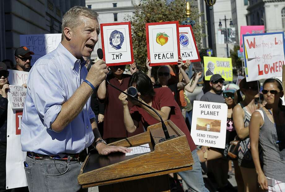 Tom Steyer speaks last month at a San Francisco rally calling for the impeachment of President Trump. Photo: Jeff Chiu, Associated Press