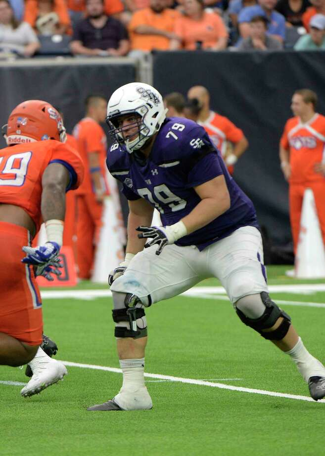 Houston Christian graduate and Stephen F. Austin senior Josh Keith was a preseason all-Southland Conference selection and has started nine games for the Lumberjacks, eight at left tackle. Photo: SFA Athletics