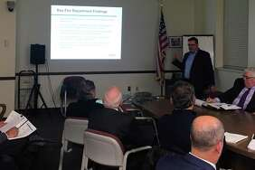 Consultants from Matrix Consulting Group present to the Fire Department Strategic Planning Steering Committee Nov. 13 in Westport Town Hall.
