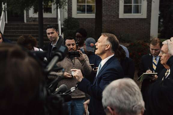 BIRMINGHAM, AL - NOVEMBER 15:  Attorney Phillip L. Jauregui, who represents Republican U.S. Senate candidate Roy Moore, holds a news conference in defense of Moore against sexual misconduct claims on November 15, 2017 in Birmingham, Alabama. (Photo by Wes Frazer/Getty Images)