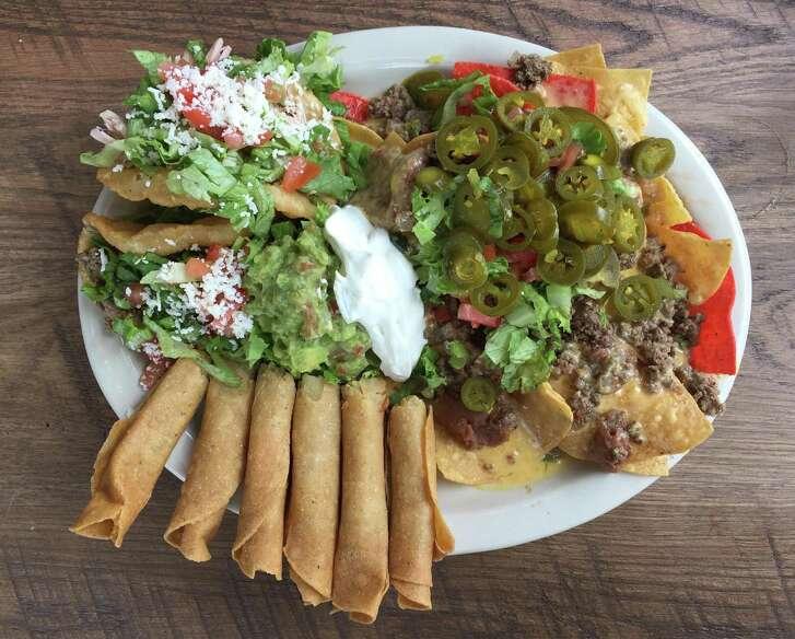 The La Taqueria Sampler plate at La Taqueria Austin Hwy.