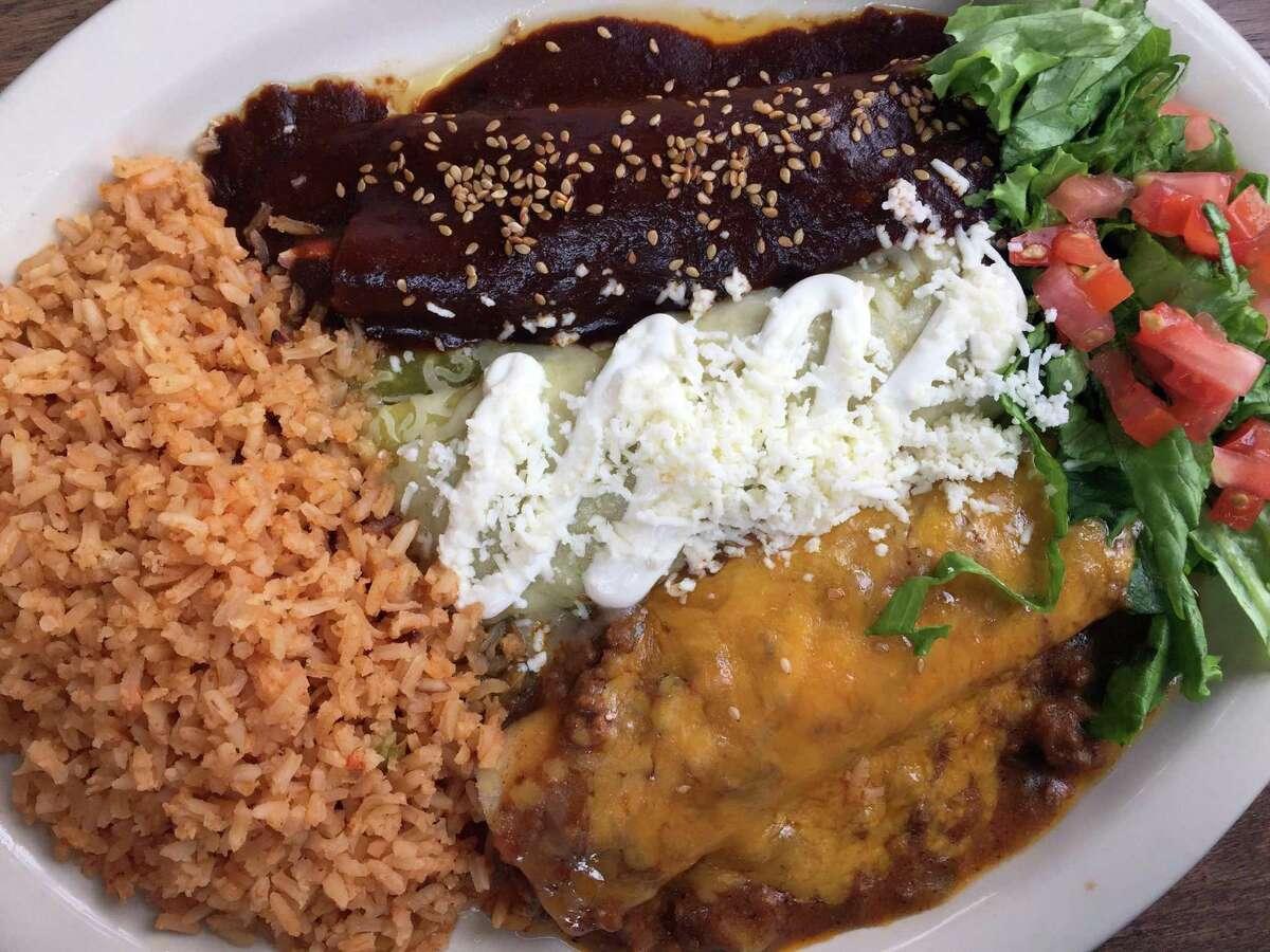 A trio of enchiladas from La Taqueria Austin Hwy.
