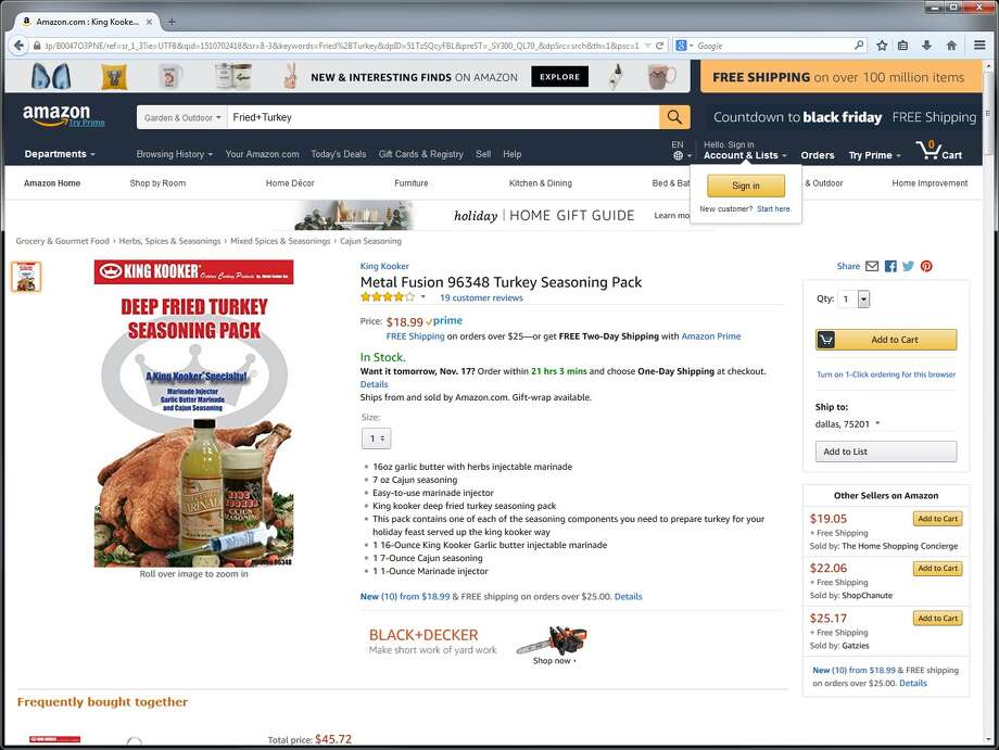 """""""Metal Fusion"""" 96348 Turkey Seasoning Pack ($18.04)This one-ounce marinade injector comes with 16 ounces of marinade, 7 ounces of Cajun seasoning, a seasoning pack and other flavorings. Photo: Amazon.com"""