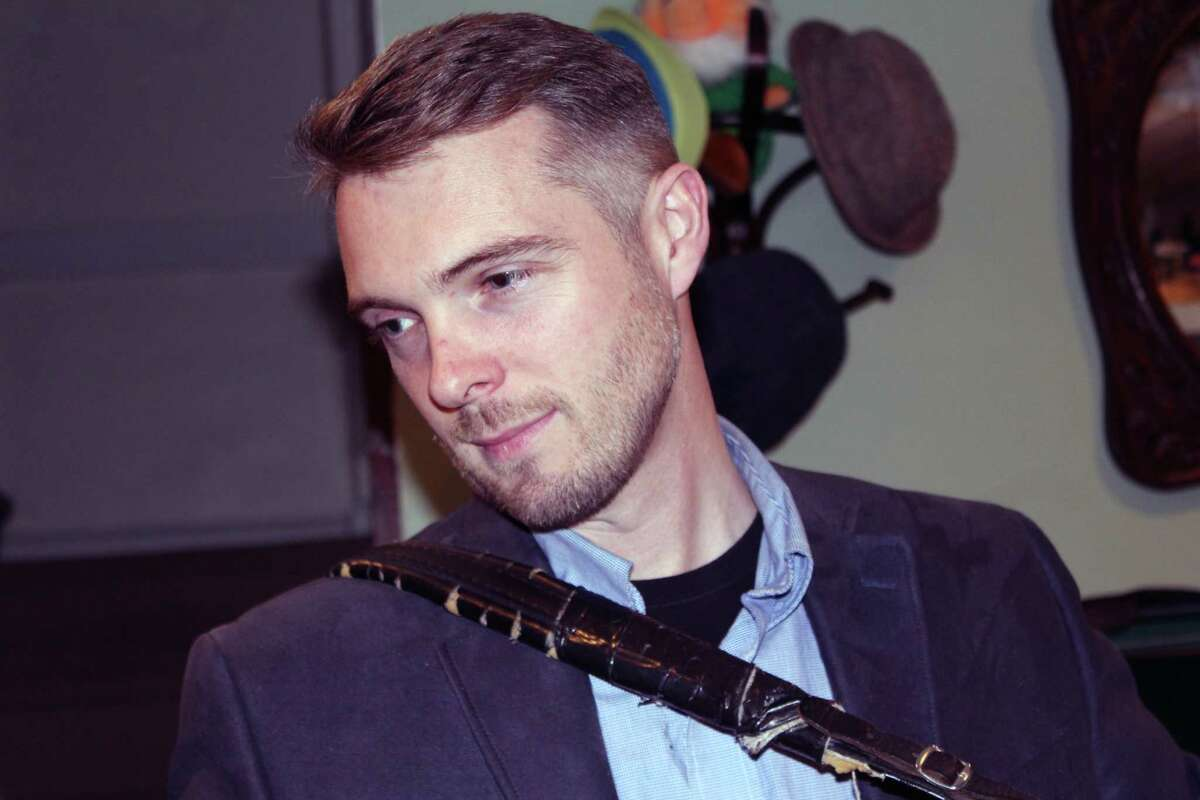 Irish button accordion player Damien Connolly in his Fairfield home on Nov. 10.