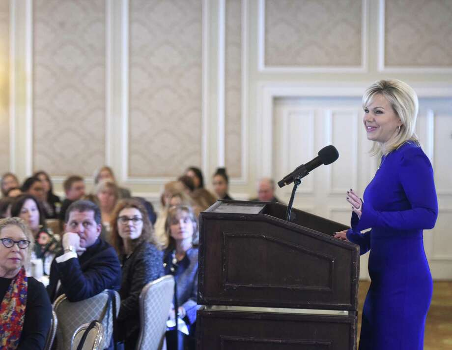 """Author and former news anchor Gretchen Carlson speaks at the Greenwich Chamber of Commerce Women Who Matter Luncheon at Greenwich Country Club in Greenwich, Conn. Thursday, Nov. 16, 2017. Carlson spoke about her life and experiences with sexual harassment while promoting her new book """"Be Fierce: Stop Harassment and Take Your Power Back."""" Photo: Tyler Sizemore / Hearst Connecticut Media / Greenwich Time"""