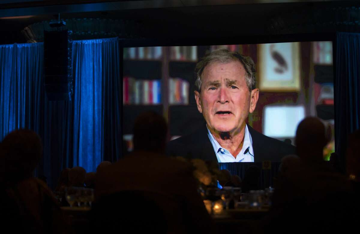 Former President George W. Bush appeared on a video made especially for Rich Kinder during the MD Anderson Evening with a Living Legend on Wednesday, Nov. 15, 2017, in downtown Houston. (Annie Mulligan / Freelance)